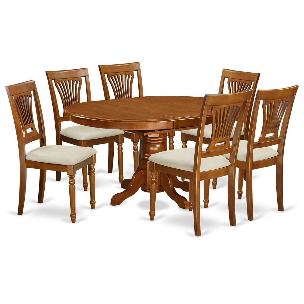 AVPL7-SBR-C 7 PcAvon Dining Table featuring Leaf and 6 Fabric Seat Chairs in Saddle Brown .. Picture 1