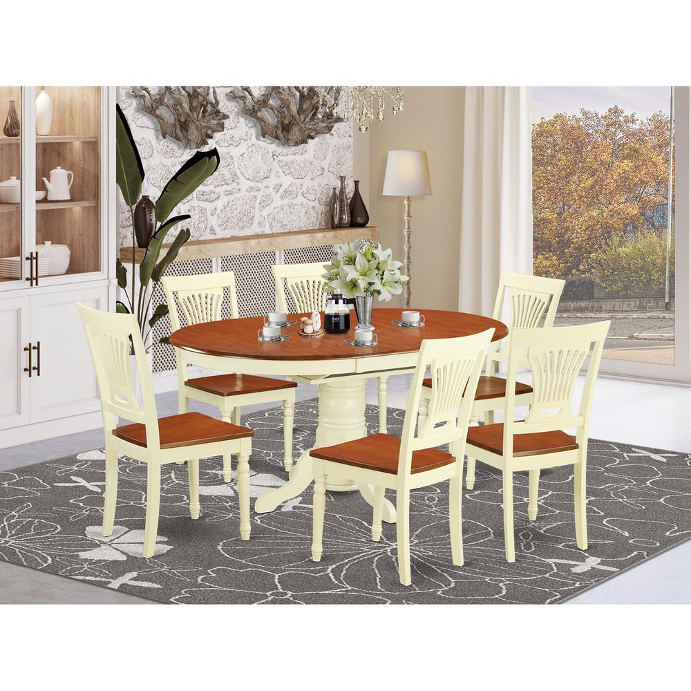 7  Pc  set  Dinette  Table  featuring  Leaf  and  6  Wood  Dinette  Chairs  in  Buttermilk  and  Cherry. Picture 1