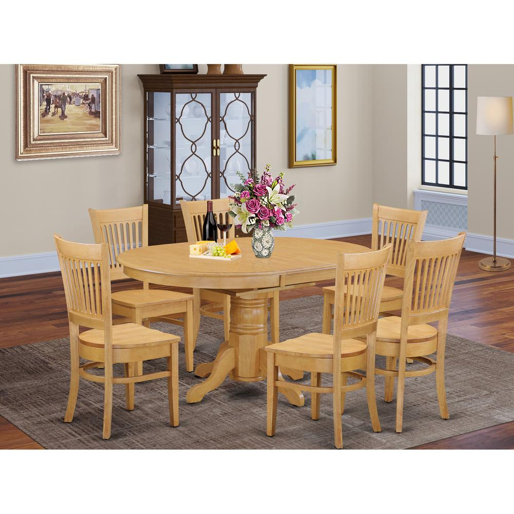Dining Room Sets With Leaf: 7 PC Dining Room Set For 6-Table With Leaf And 6 Dining