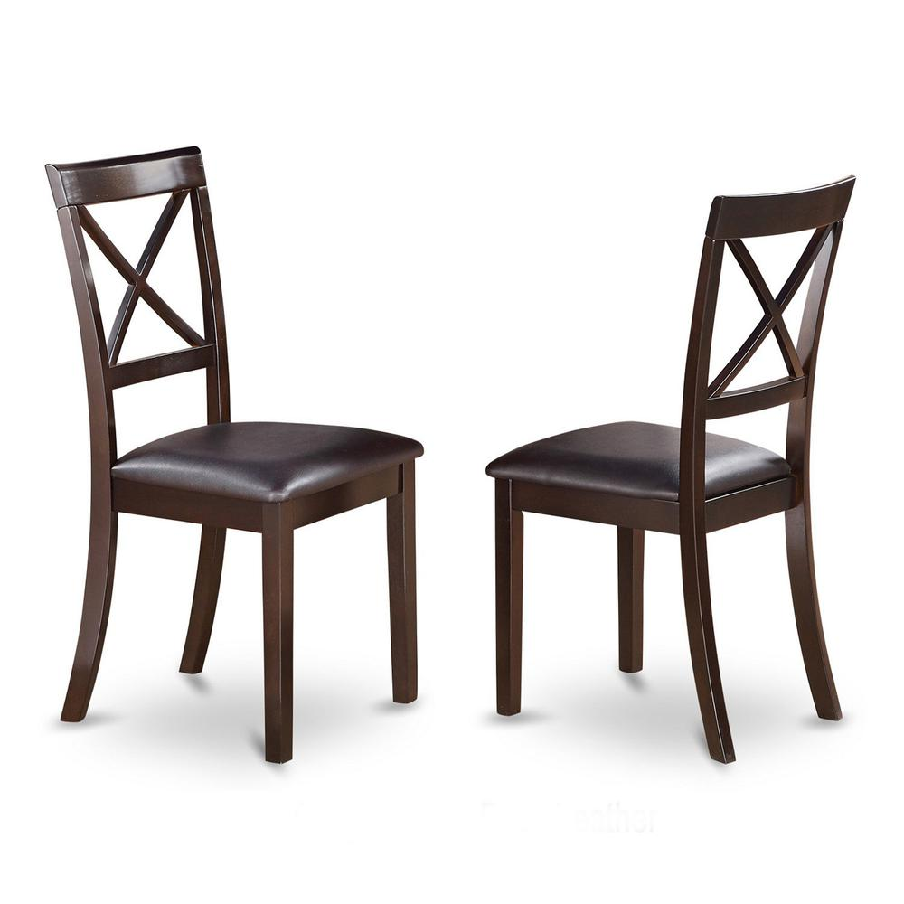 Boston  X-Back  Chair  for  dining  room  with    Faux  Leather  Upholstered  Seat,  Set  of  2. Picture 1