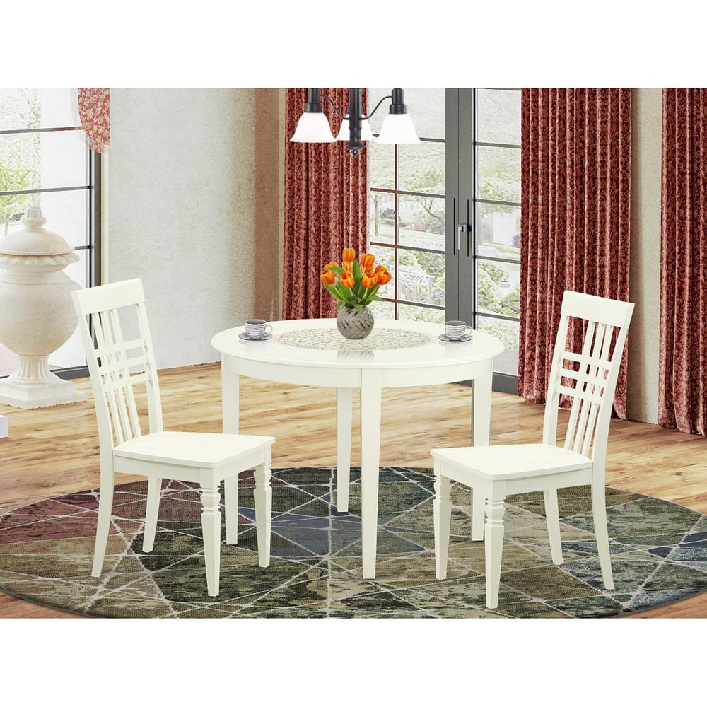 3  PC  small  Kitchen  Table  set  with  a  Boston  Dining  Table  and  2  Kitchen  Chairs  in  Linen  White. Picture 1