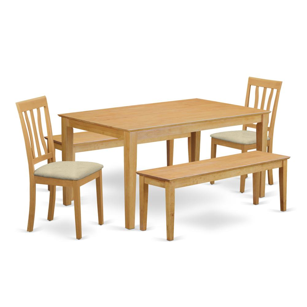 CAAN5C-OAK-C 5 Pc Dining room set for 4 - Table and 2 Dining Chairs plus 2 benches. Picture 1