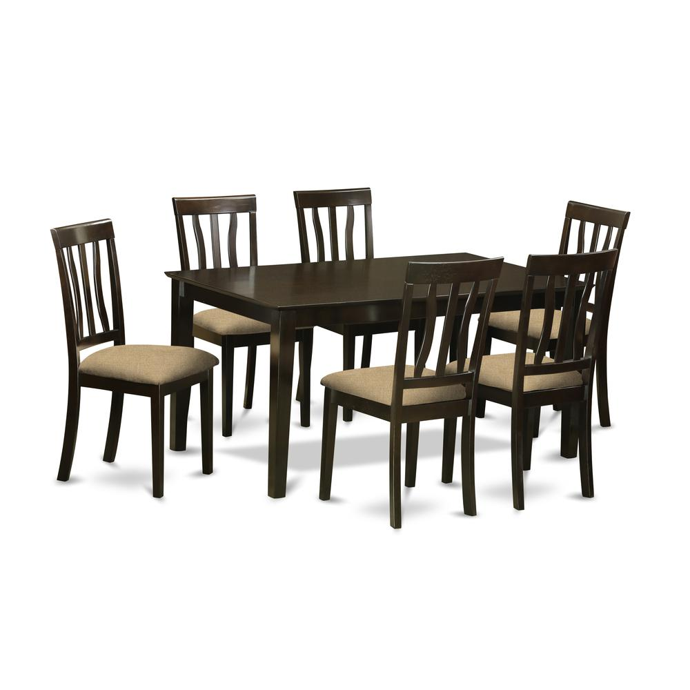 CAAN7-CAP-C 7 PC Dining room set for 6-Dining Table and 6 Dining Chairs. Picture 1