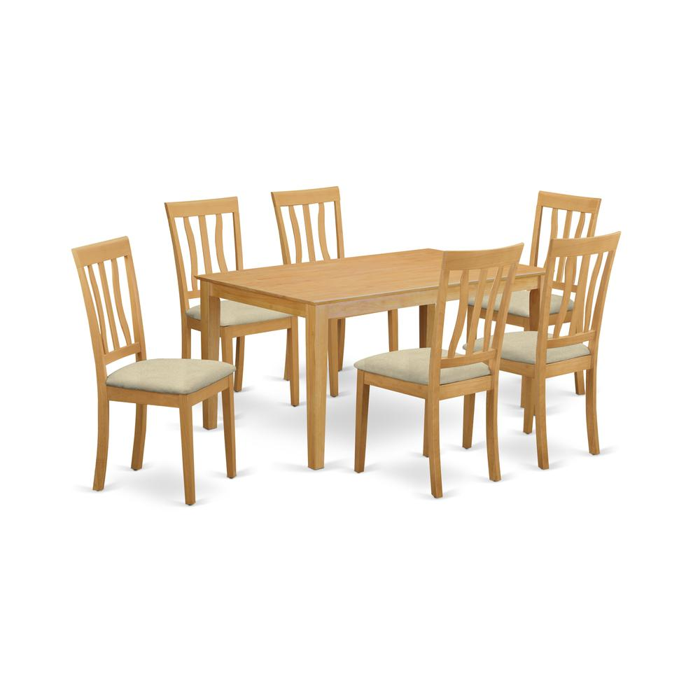 CAAN7-OAK-C 7 PC Dining room set - Small Kitchen Table and 6 Kitchen Dining Chairs. Picture 1