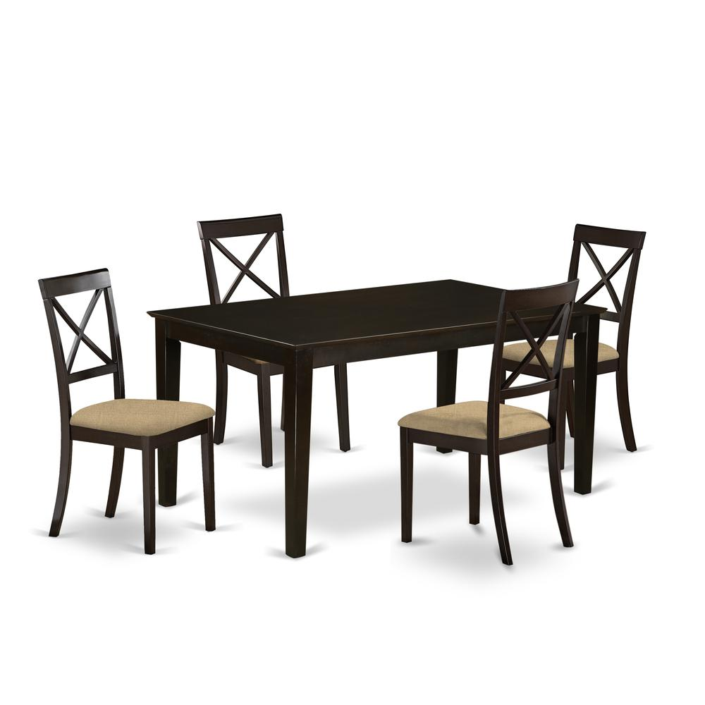 CABO5S-CAP-C 5 PC Dining room set-Top Dining Table and 4 Linen Dining seat Chairs. Picture 1
