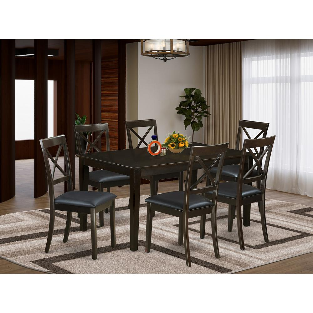 7 Pc Dining Room Set For 6 Table And 6 Dining Chairs With