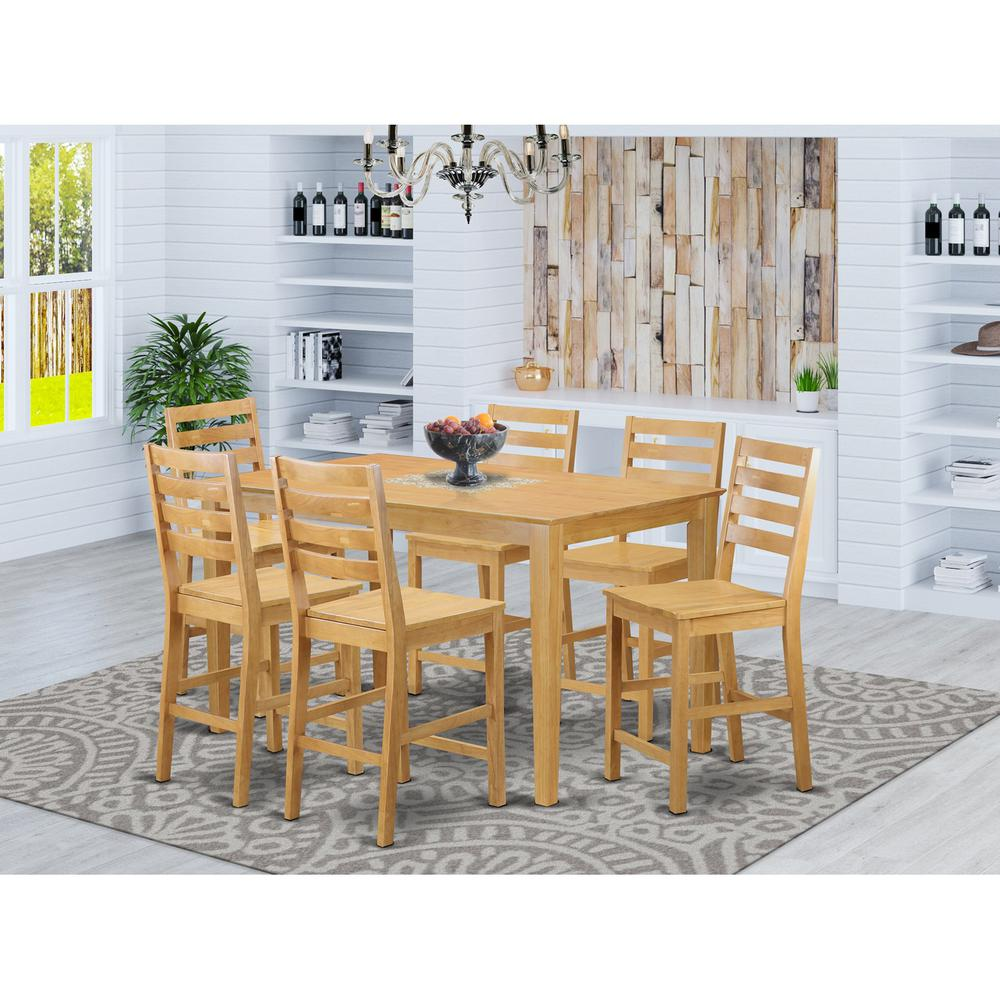 7 Pc Counter Height Set High Table And 6 Dinette Chairs