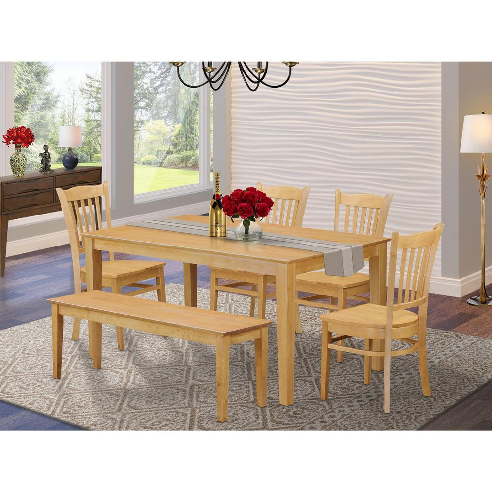 6-Pc  Kitchen  Table  with  bench  set  -  Dining  Table  and  4  Kitchen  Chairs  and  Bench. Picture 1