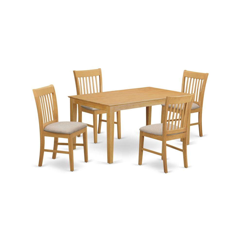 CANO5-OAK-C 5 PC Table set - Dining Table and 4 Dining Chairs. Picture 1