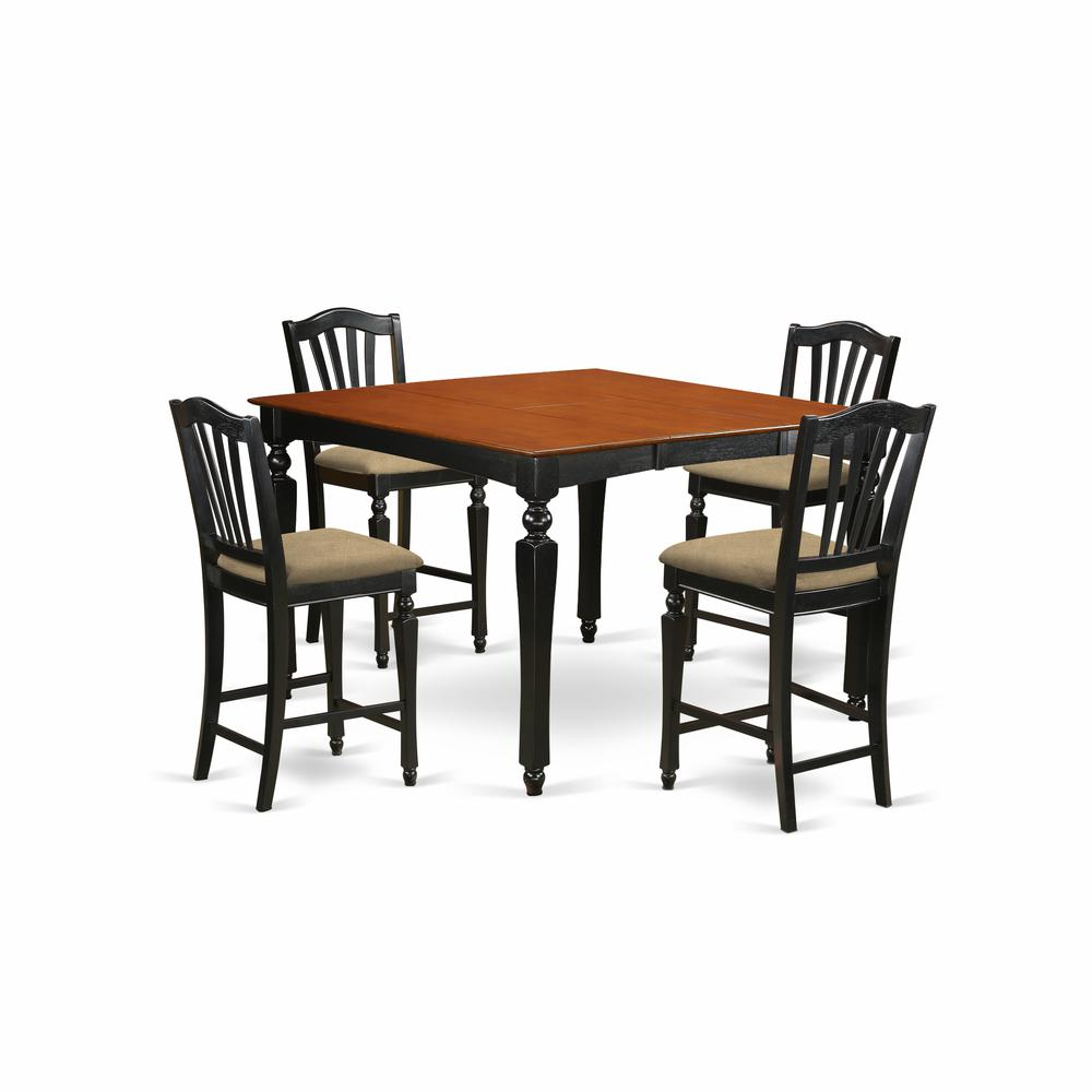 CHEL5-BLK-C 5 Pc counter height set- Square gathering Table and 4 counter height Chairs. Picture 1