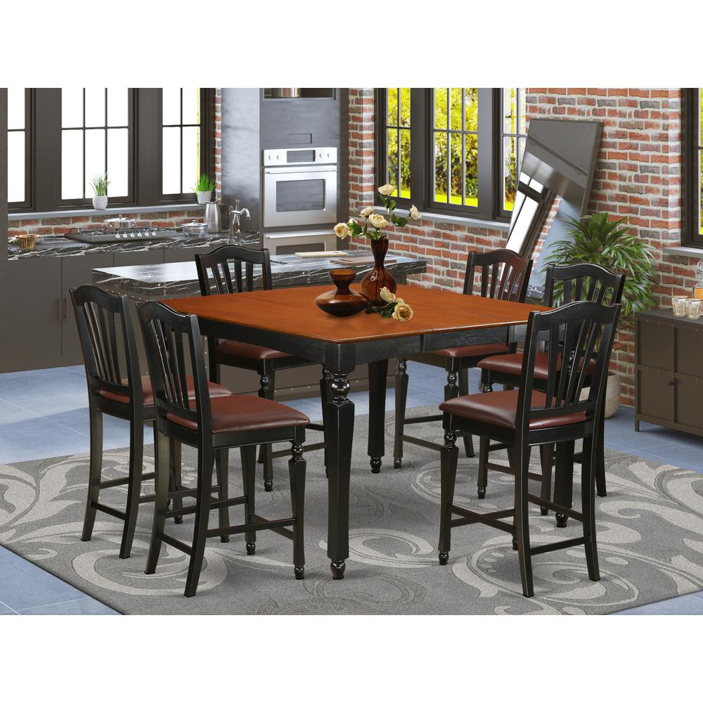 7 Pc counter height set- Square Counter height Table and 6 Kitchen counter  Chairs