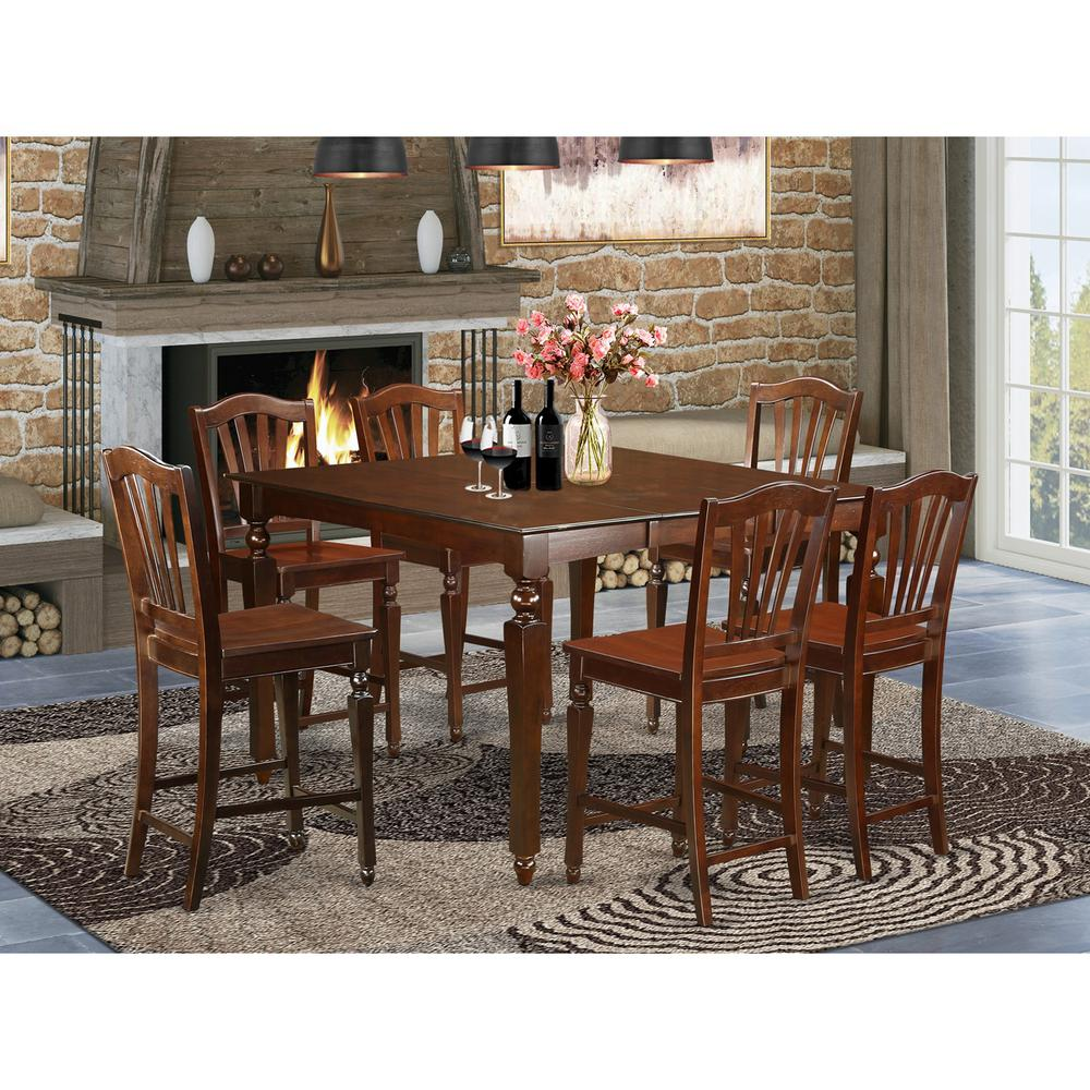 7  PC  counter  height  Dining  set-  Square  pub  Table  and  6  counter  height  Chairs. Picture 1
