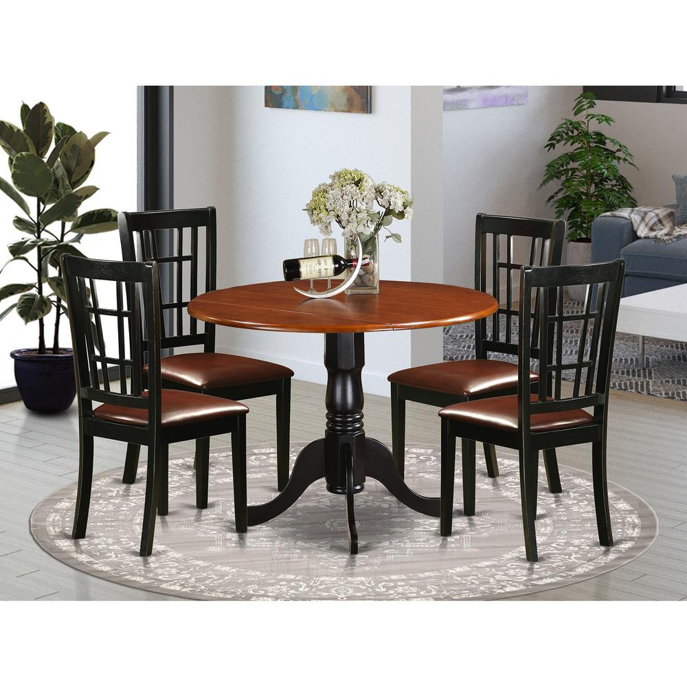 5 pc kitchen table set dining table and 4 wood kitchen chairs for Kitchen table set 4
