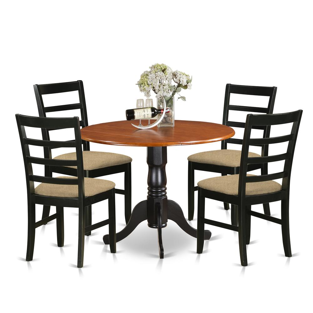 5pc Dining Table Set: 5 PC Kitchen Table Set-Dining Table And 4 Wooden Kitchen