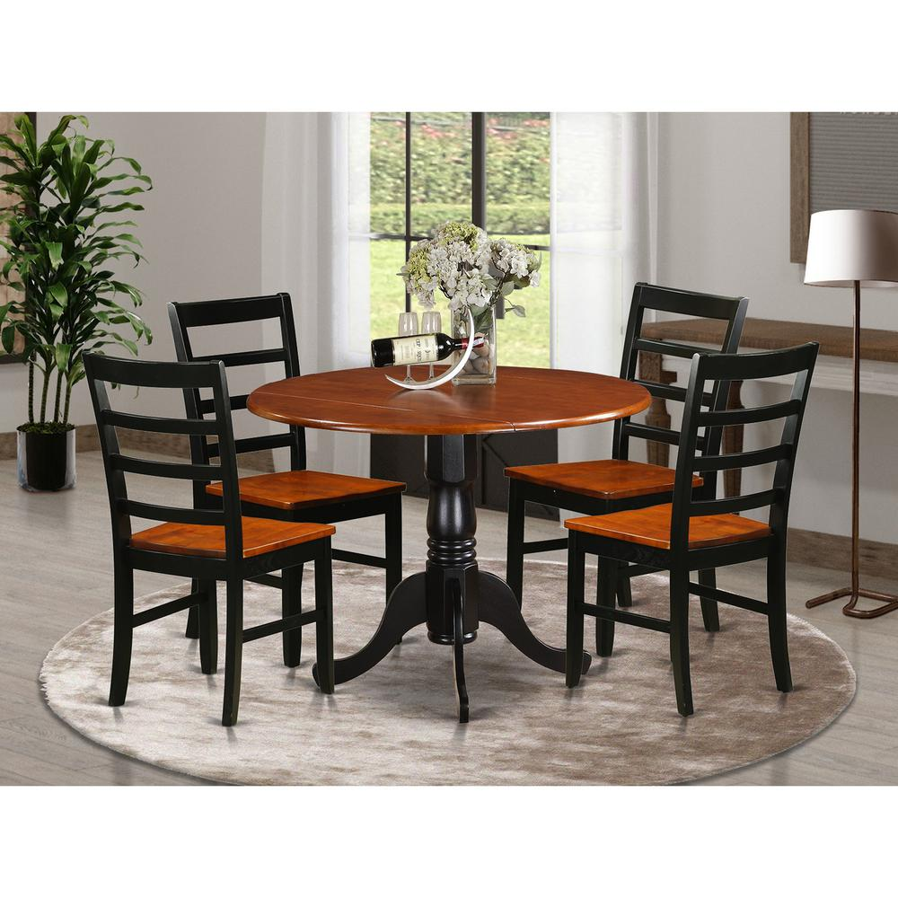 5 pc kitchen table set dining table and 4 wooden kitchen chairs. Black Bedroom Furniture Sets. Home Design Ideas