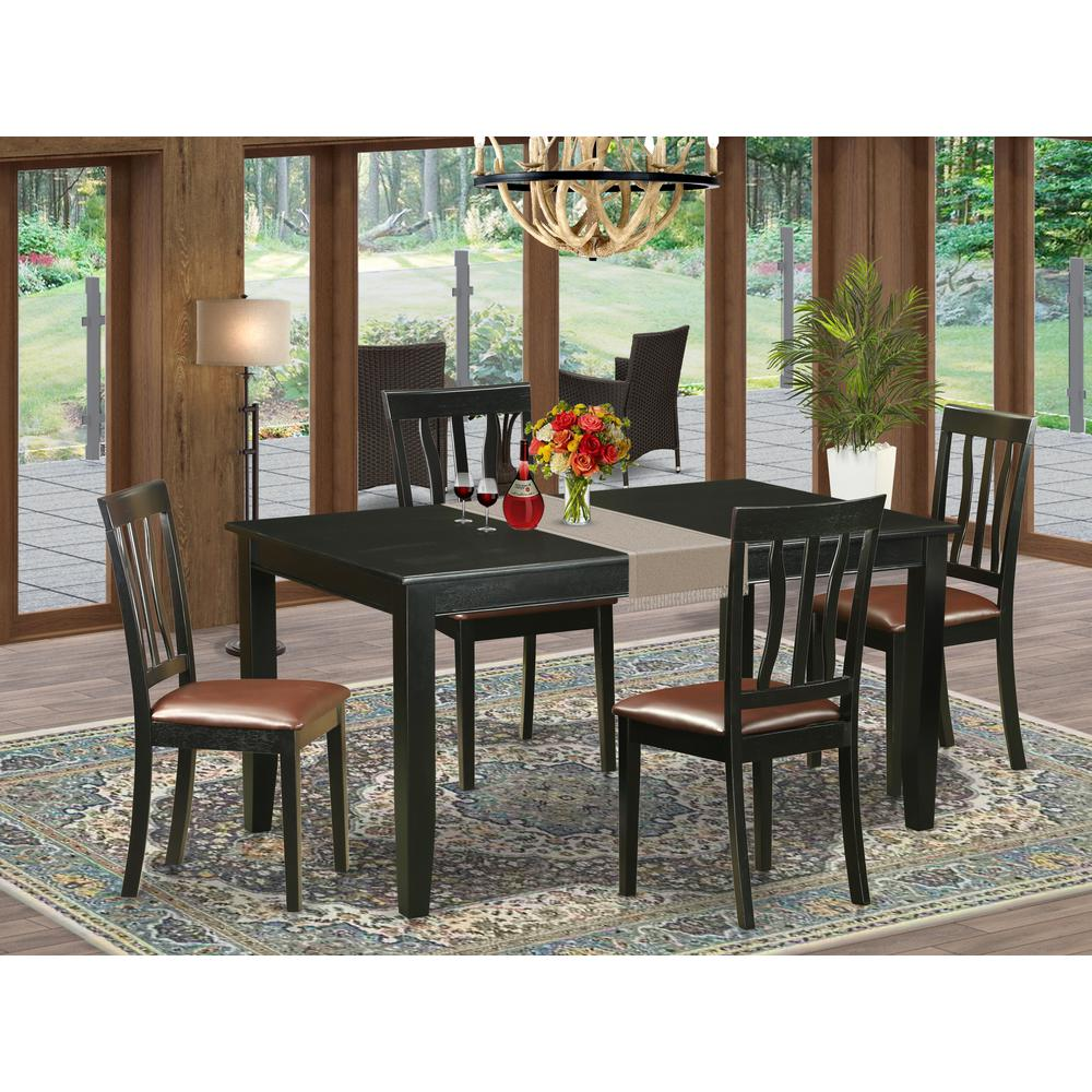 5pc Dining Table Set: Table And 4 Dining Chairs