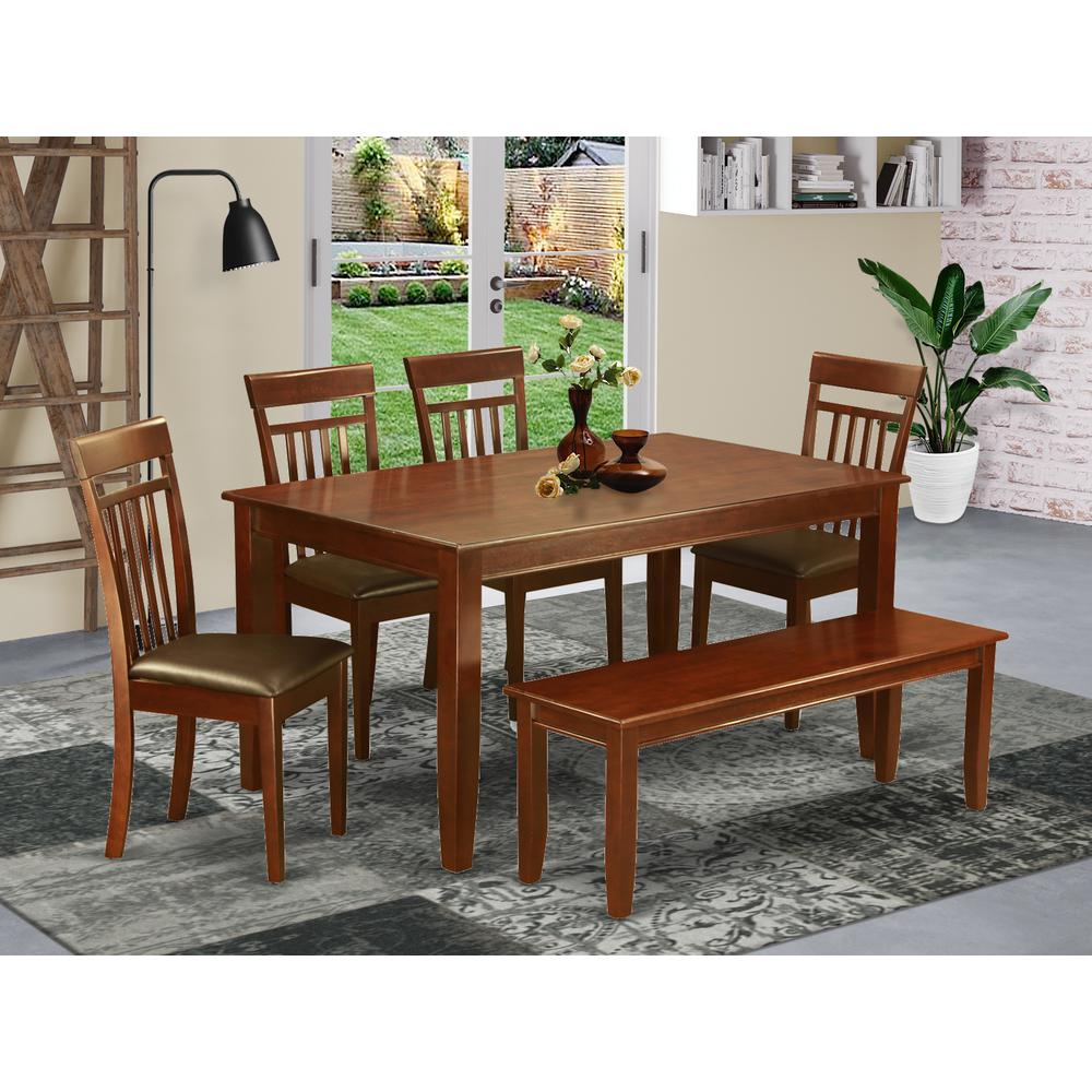 6 Pc Kitchen Table Set With Bench Kitchen Table And 4
