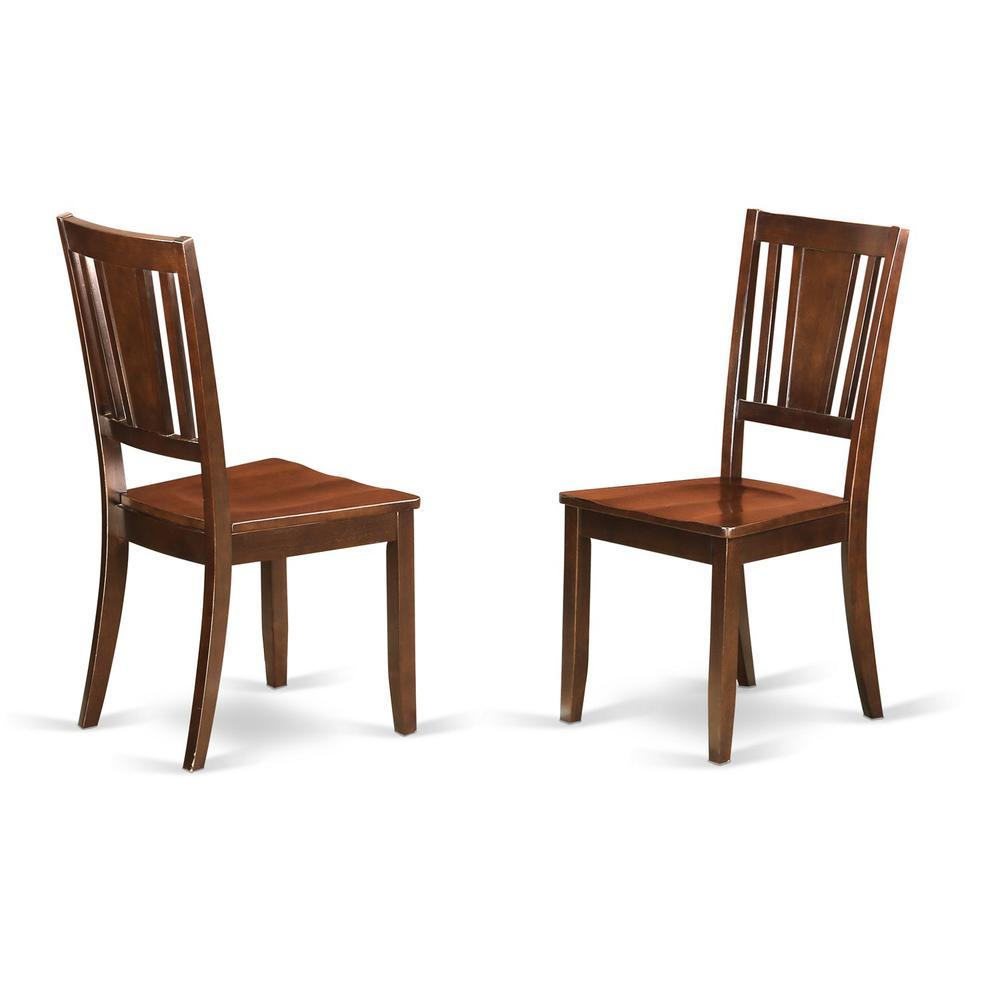 Dudley Dining Chair With Wood Seat In Mahogany Finish Set