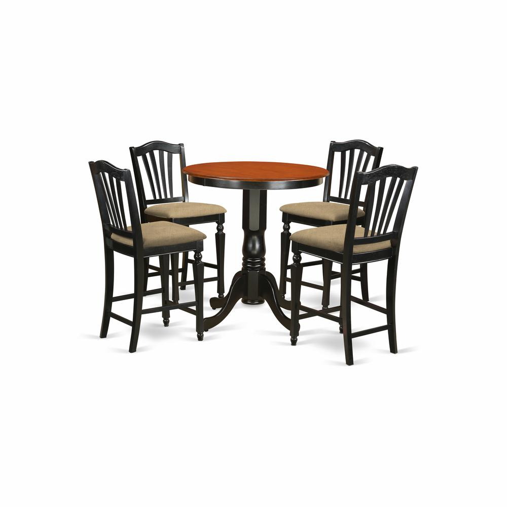 EDCH5-BLK-C 5 Pc counter height set - Kitchen Table and 4 counter height Dining chair.. Picture 1