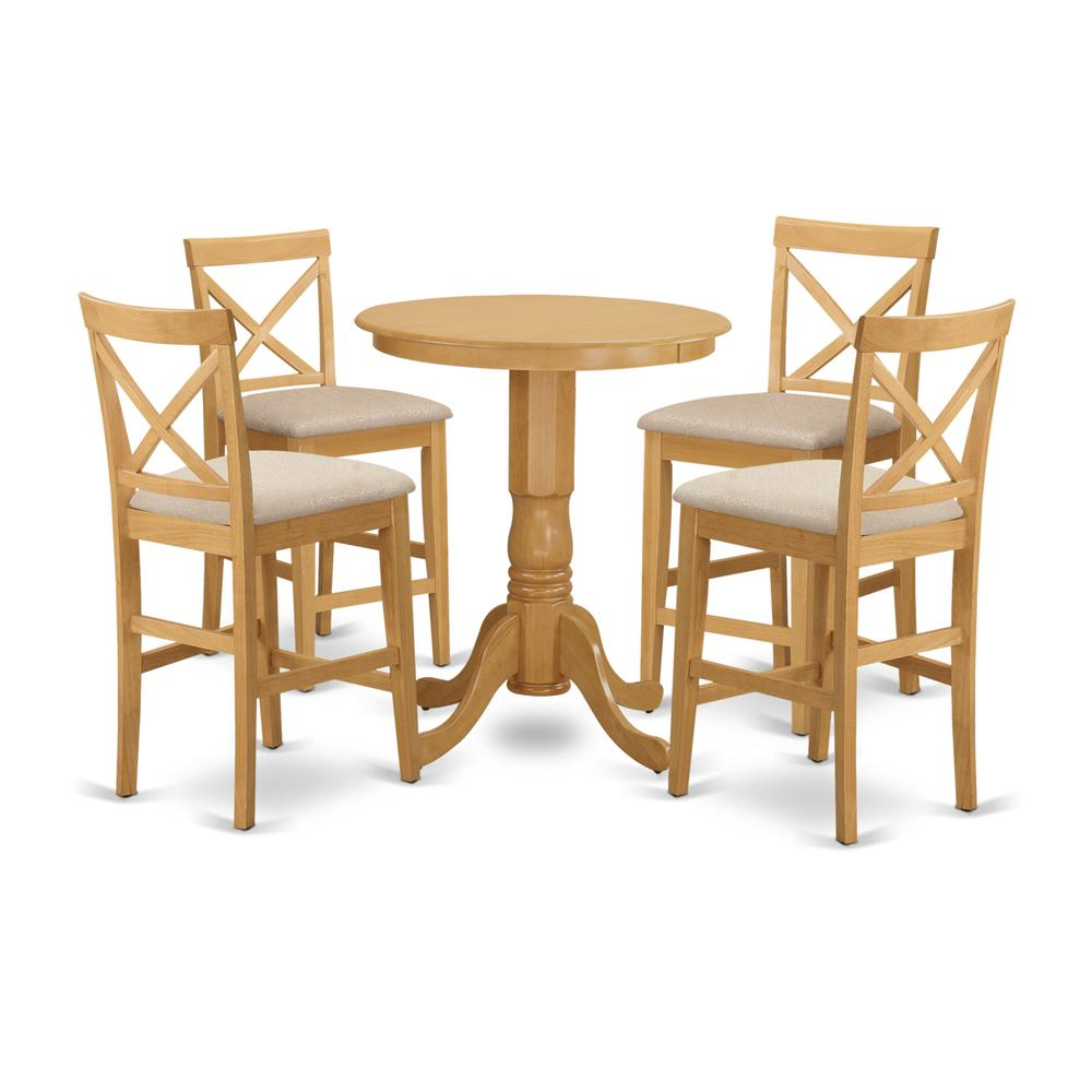 EDPB5-OAK-C 5 PC counter height pub set-pub Table and 4 counter height Chairs. Picture 1