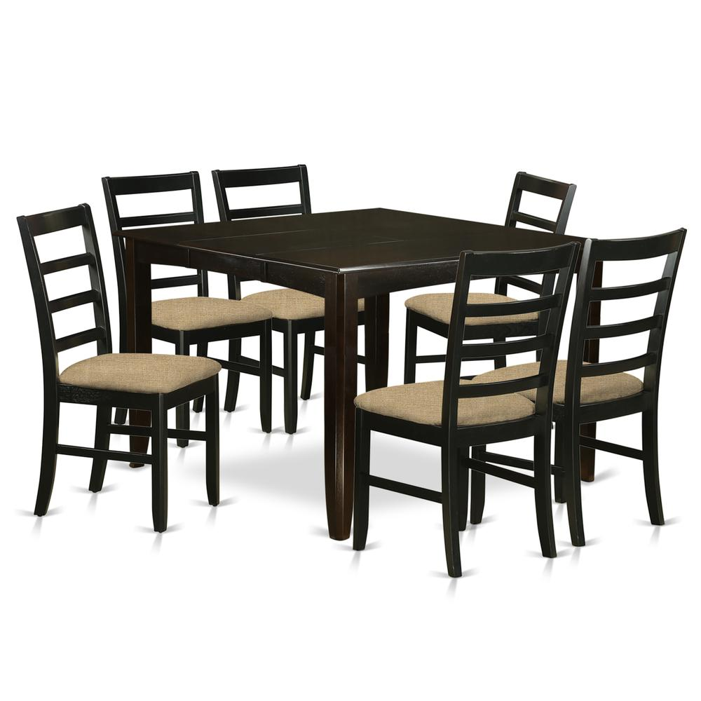 Pc Square Pub Table Set: 7 PC Pub Height Set- Square Table And 6 Kitchen Counter Chairs