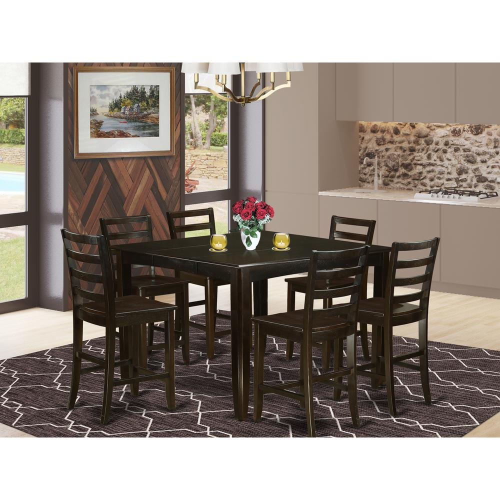 Kitchen Table With 6 Chairs: 7 PC Counter Height Set- Square Table Plus 6 Kitchen