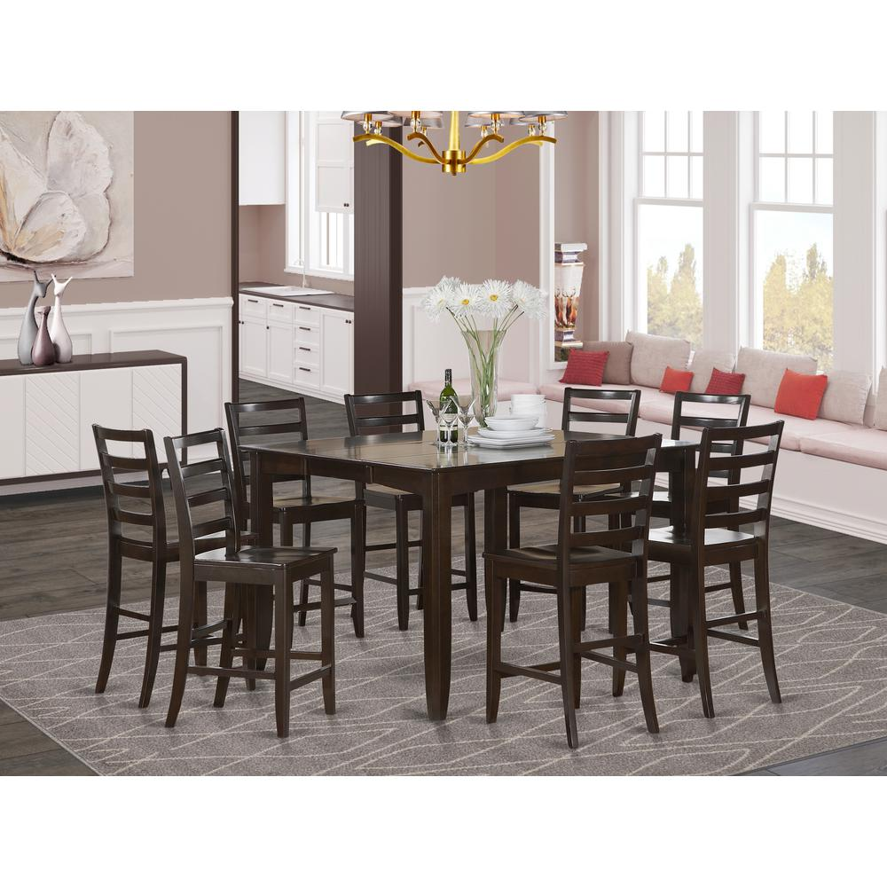 9 Pc Counter Height Set Square Table And 8 Counter Height Chairs