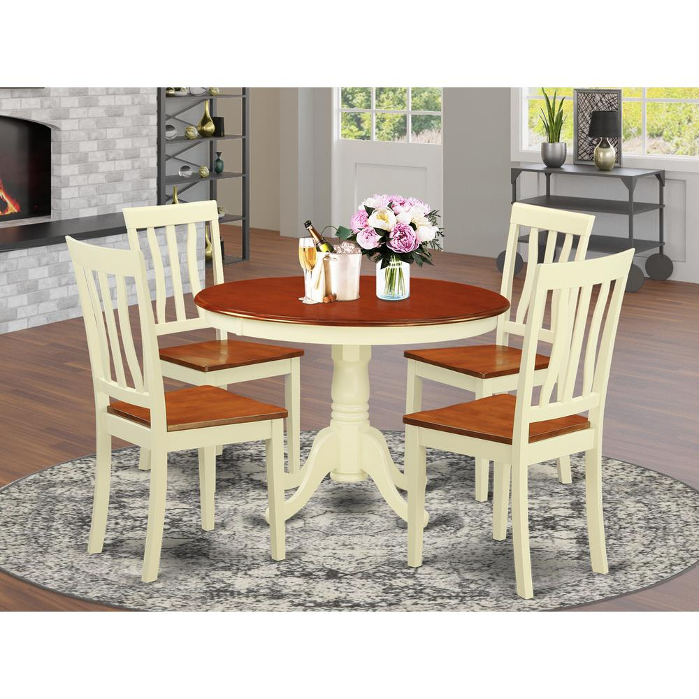 5 Pc Set With A Round Small Table And 4 Wood Dinette