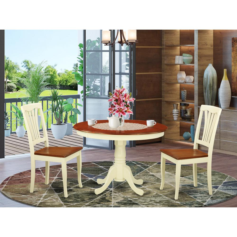 3 Pc Set With A Round Small Table And 2 Wood Dinette