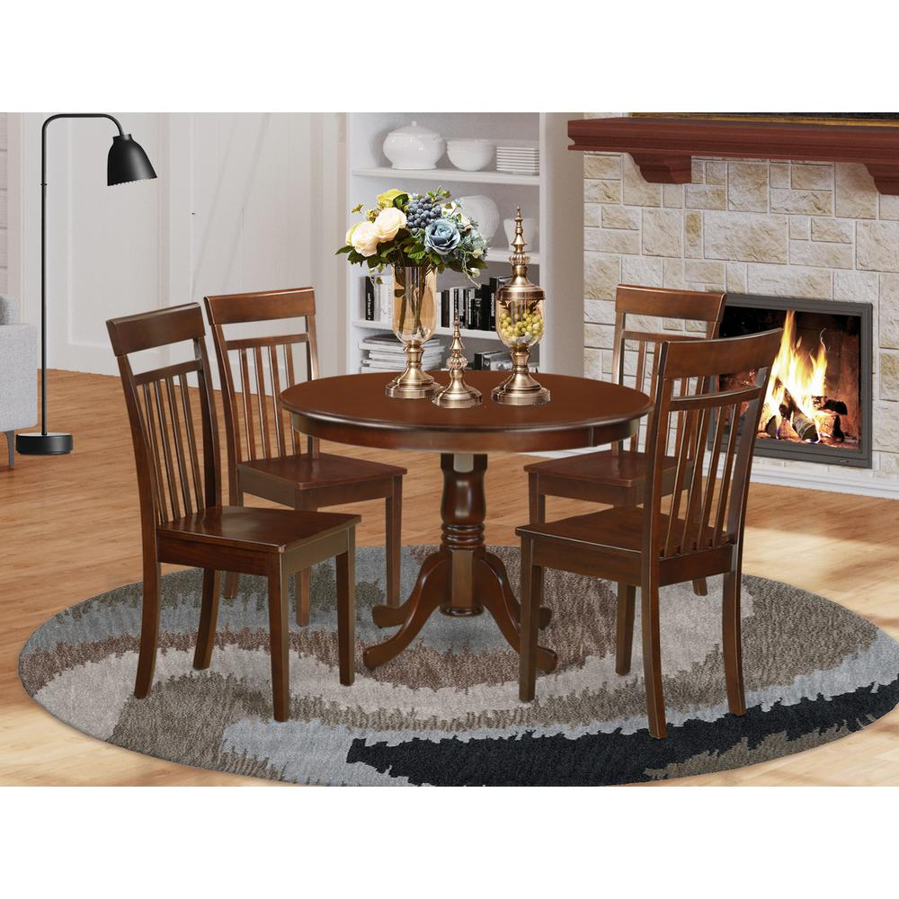 Office Kitchen Tables: 5 Pc Set With A Round Small Table And 4 Wood Dinette