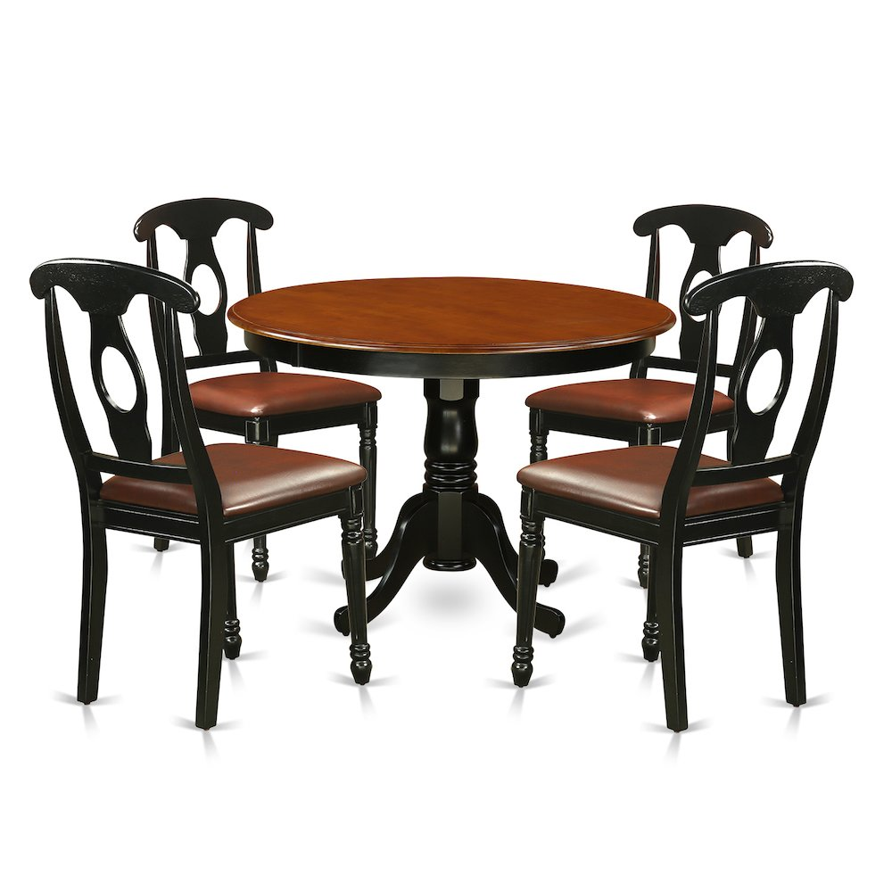 5 pc set with a round kitchen table and 4 leather dinette for Leather chairs for kitchen table