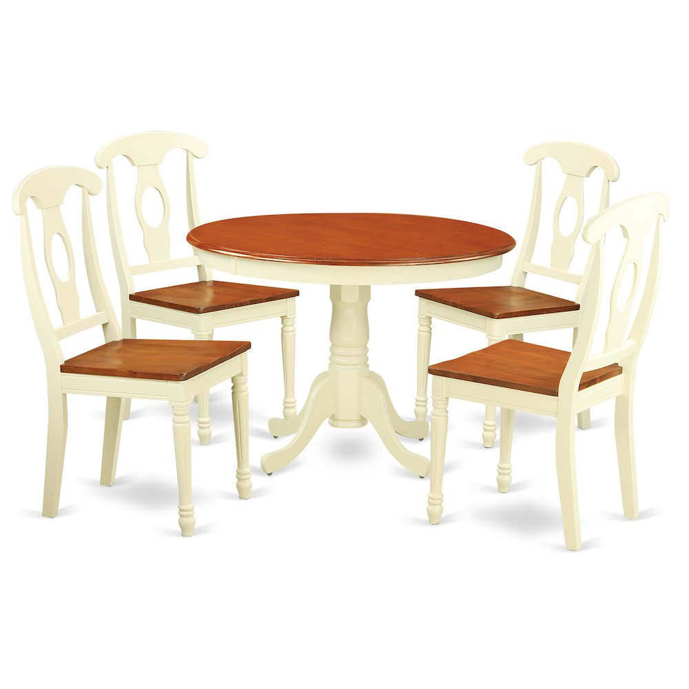 5 Pc Set With A Round Small Table And 4 Wood Dinette Chairs In