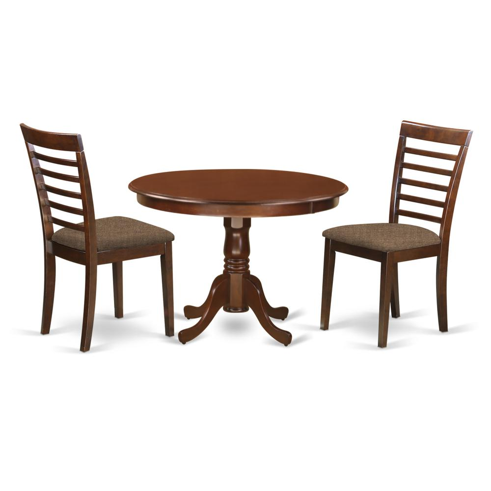 Dublin Metal Dining Chair: 3 Pc Set With A Kitchen Table And 2 Microfiber Seat