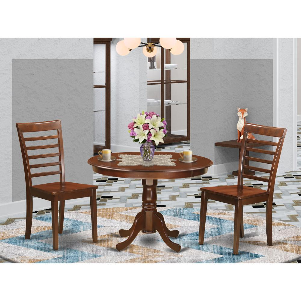 3 Pc Set With A Round Table And 2 Wood Dinette Chairs In Mahogany