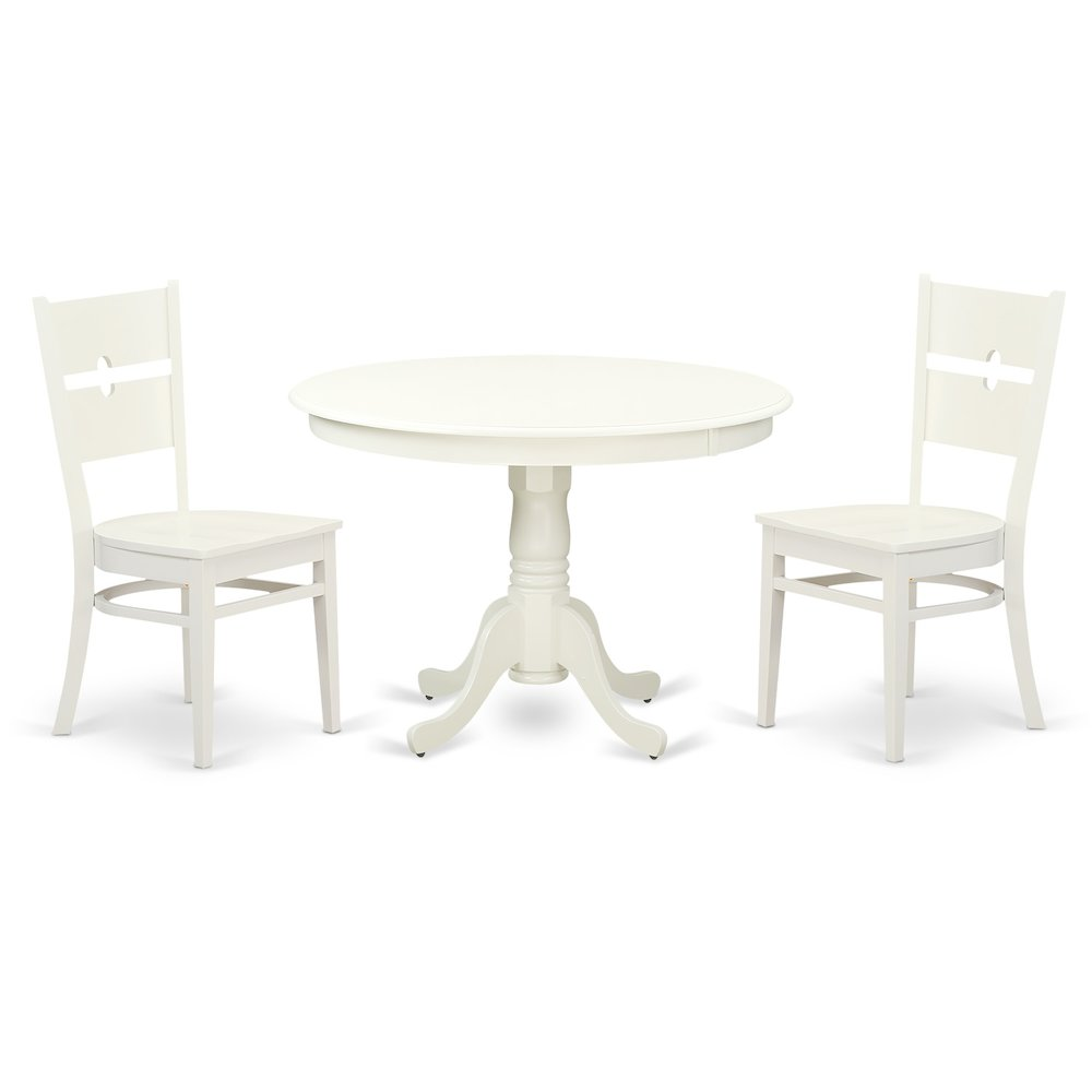 3 Pc set with a Round Dinette Table and 2 Leather Kitchen Chairs in Linen  White