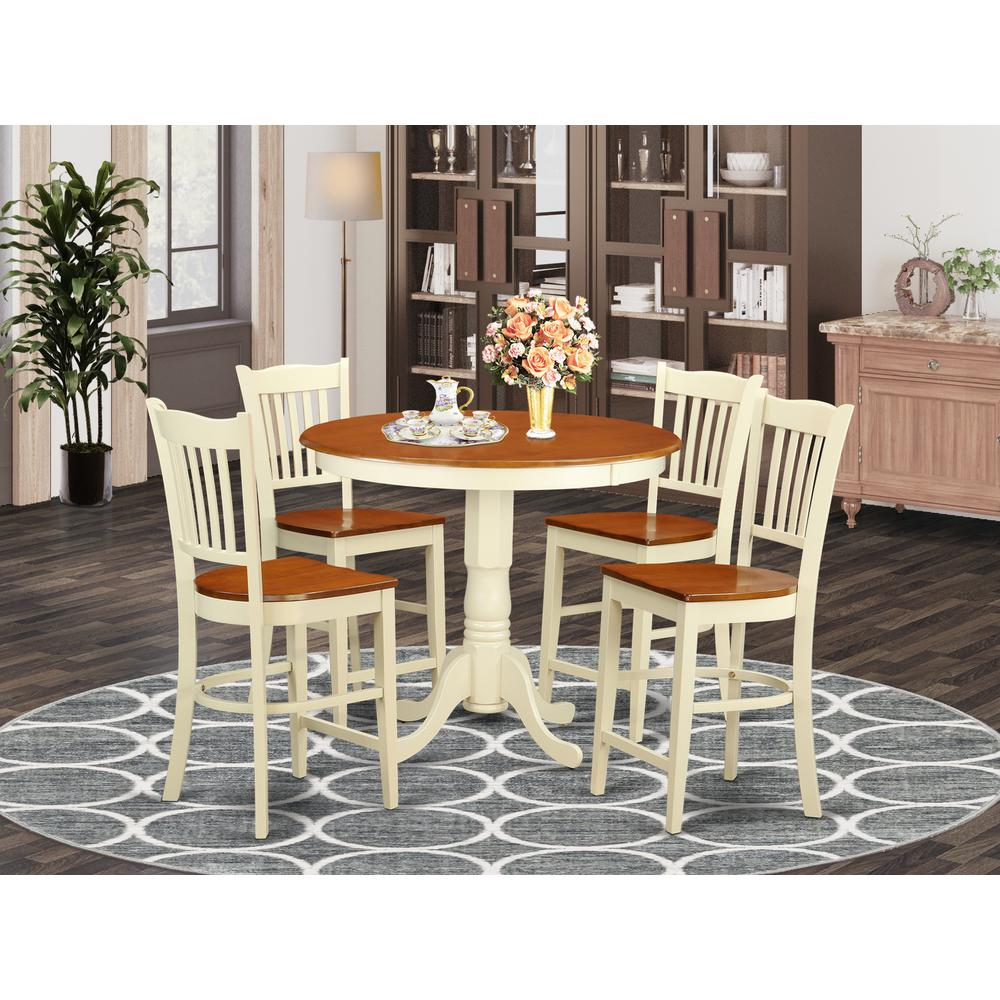 5  PC  counter  height  Dining  set-pub  Table  and  4  bar  stools  with  backs. Picture 1