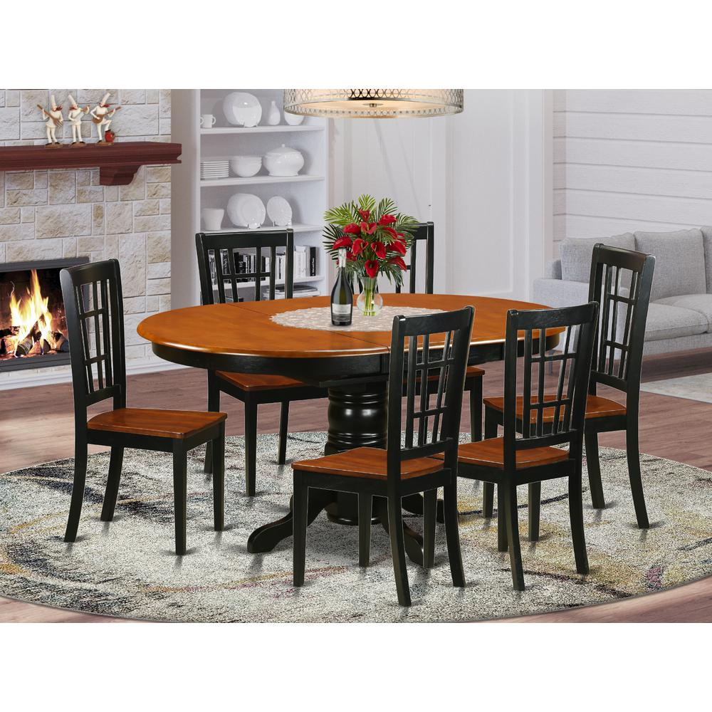 7  PC  Dining  set-Dining  Table  and  6  Wooden  Kitchen  Chairs. Picture 1
