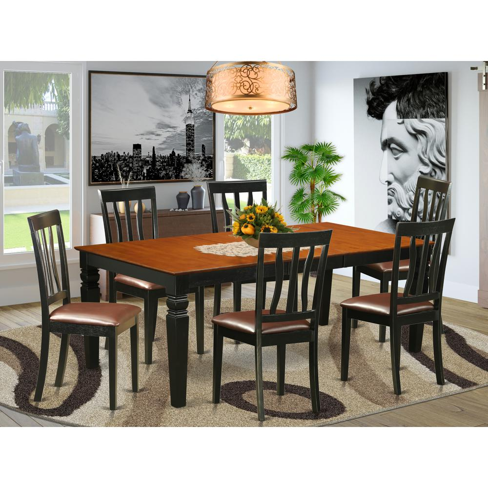 7  Pc  Table  set  with  a  Dining  Table  and  6  Dining  Chairs  in  Black  and  Cherry. Picture 1