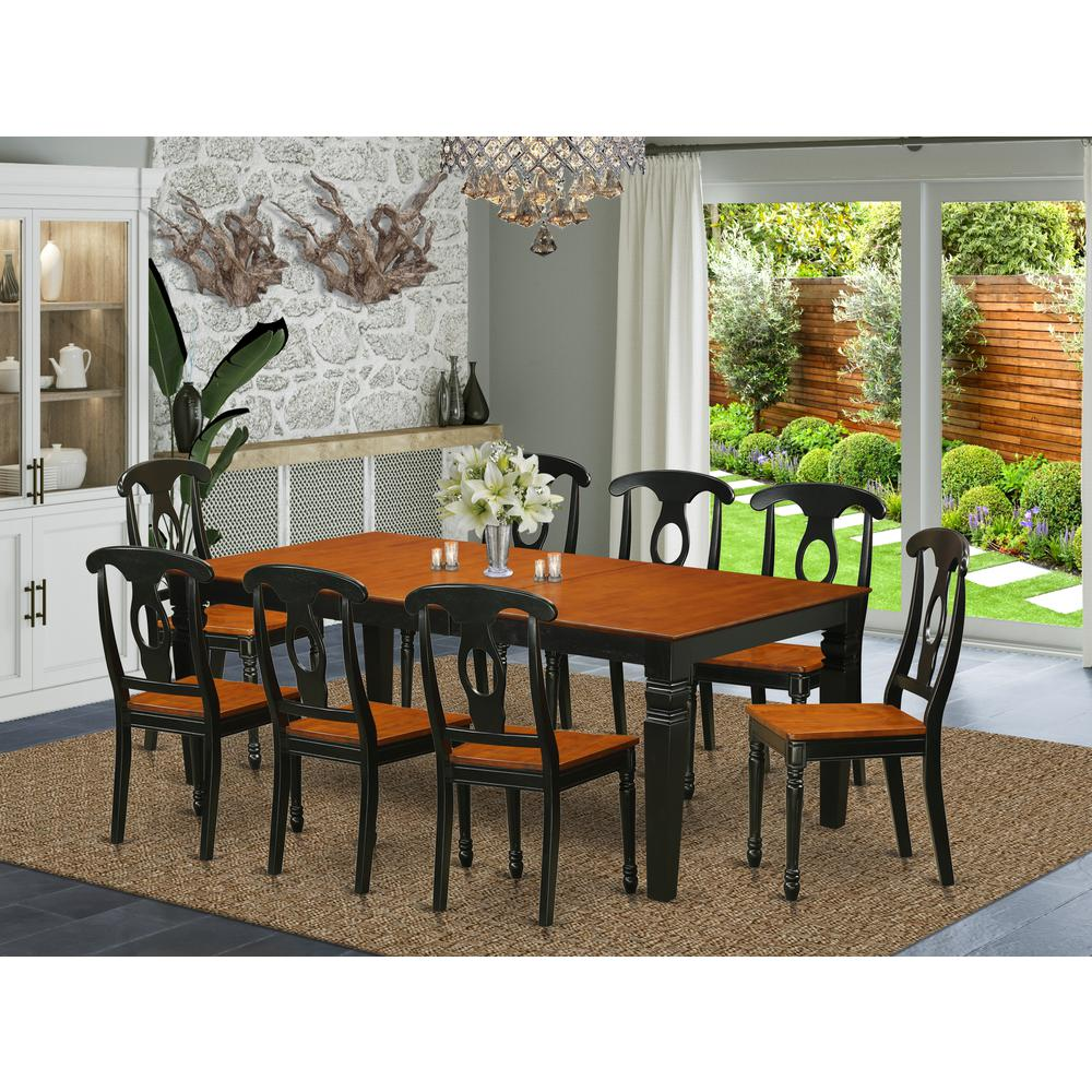 9  PC  Table  and  chair  set  with  a  Dining  Table  and  8  Dining  Chairs  in  Black  and  Cherry. Picture 1