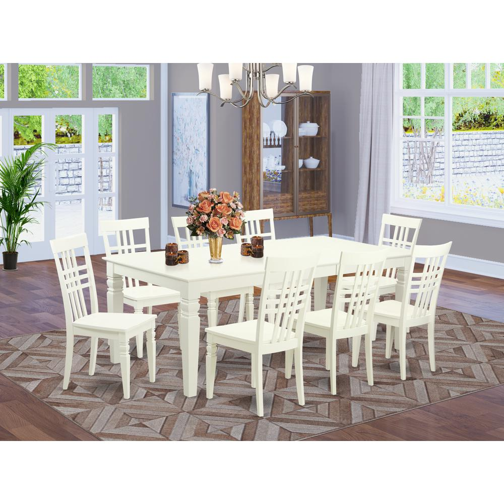 9  PcTable  set  with  a  Dining  Table  and  8  Dining  Chairs  in  Linen  White. Picture 1