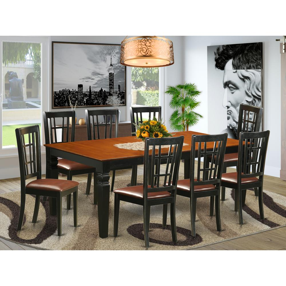 9  PC  Kitchen  Table  set  with  a  Dining  Table  and  8  Dining  Chairs  in  Black  and  Cherry. Picture 1