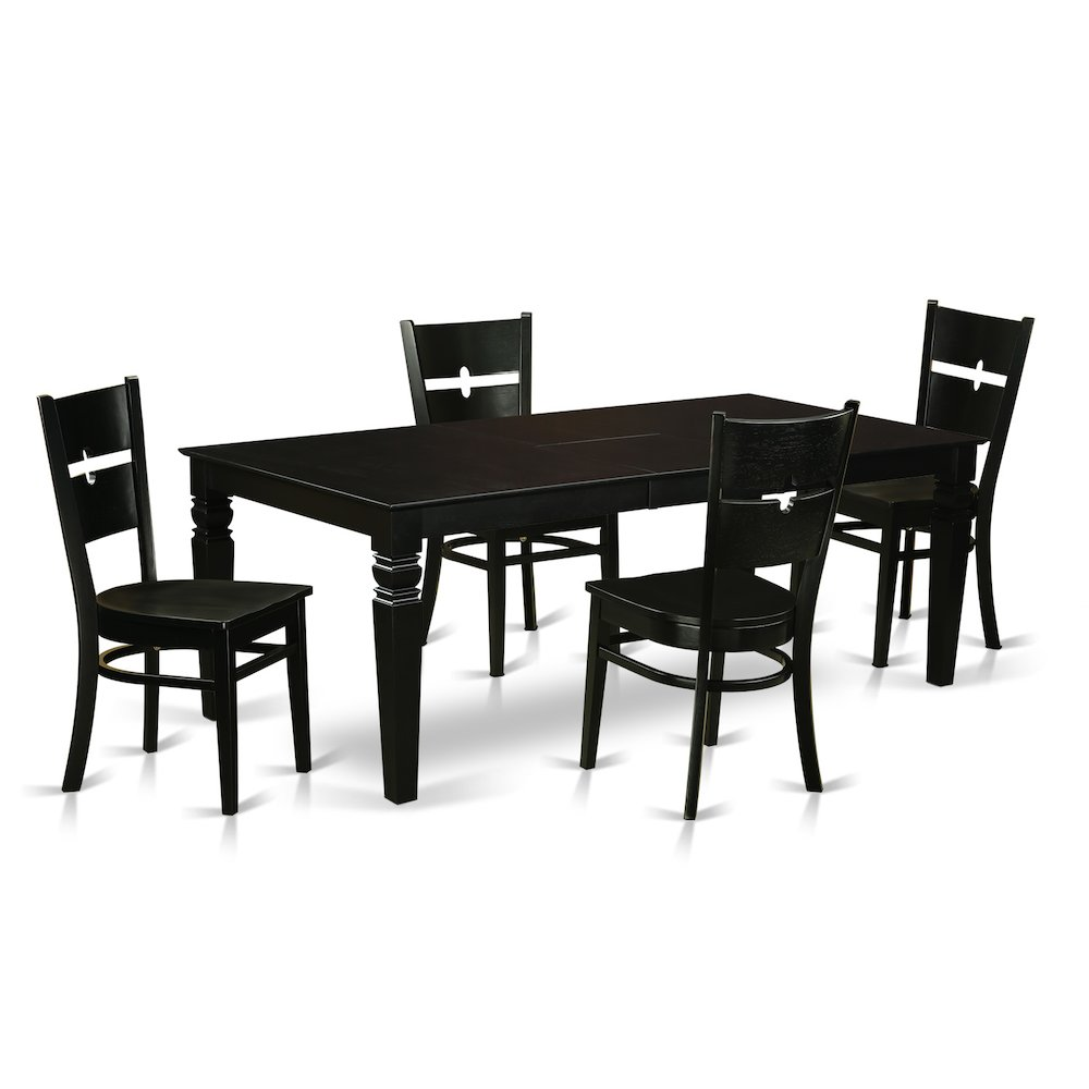 5 pc dining room set with a dinning table and 4 wood for Hgg 5pc drop leaf kitchen dining table set