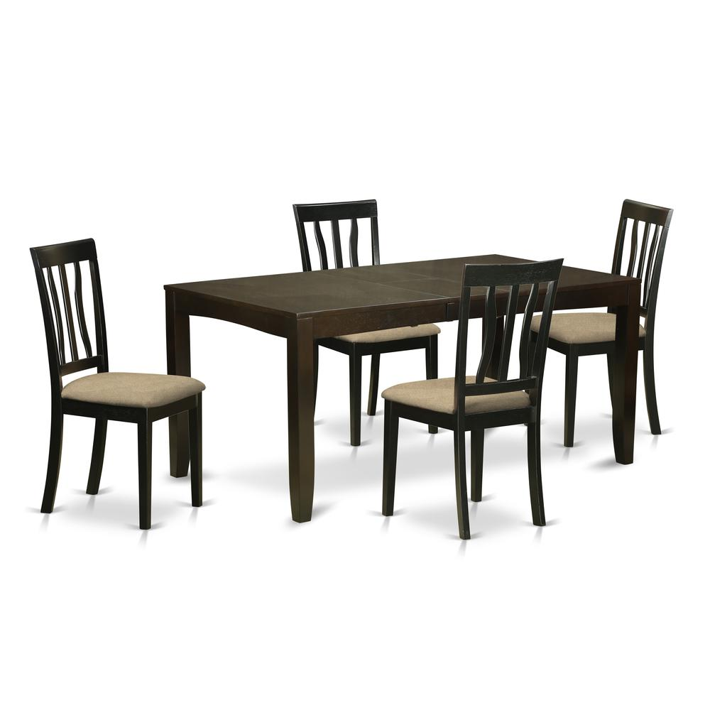 5 pc dining room set for 4 kitchen tables with leaf and 4 - Four dining room chairs set ...