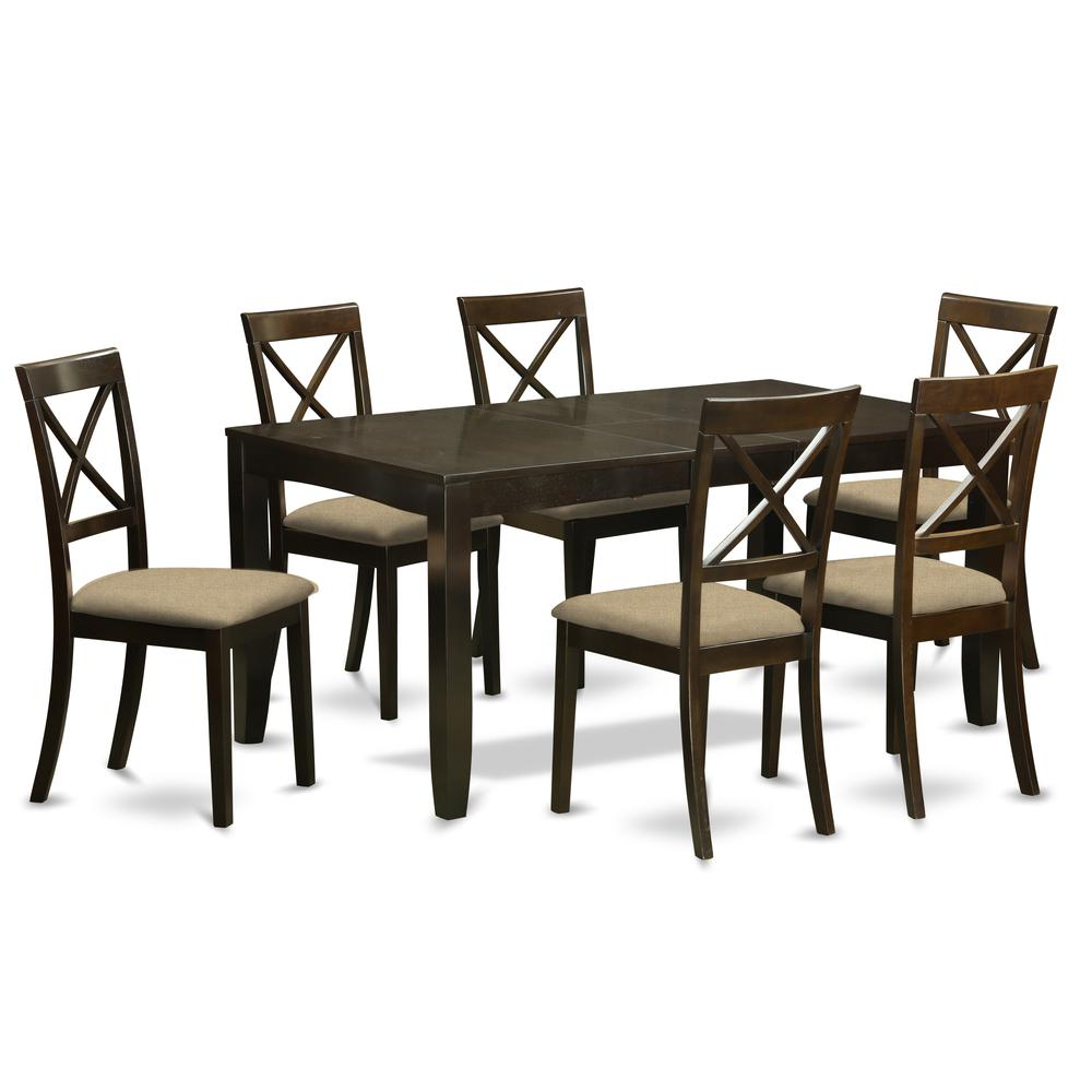 LYBO7-CAP-C 7 PC Dining room set-Kitchen Tables with Leaf Plus 6 Chairs for Dining room. Picture 1