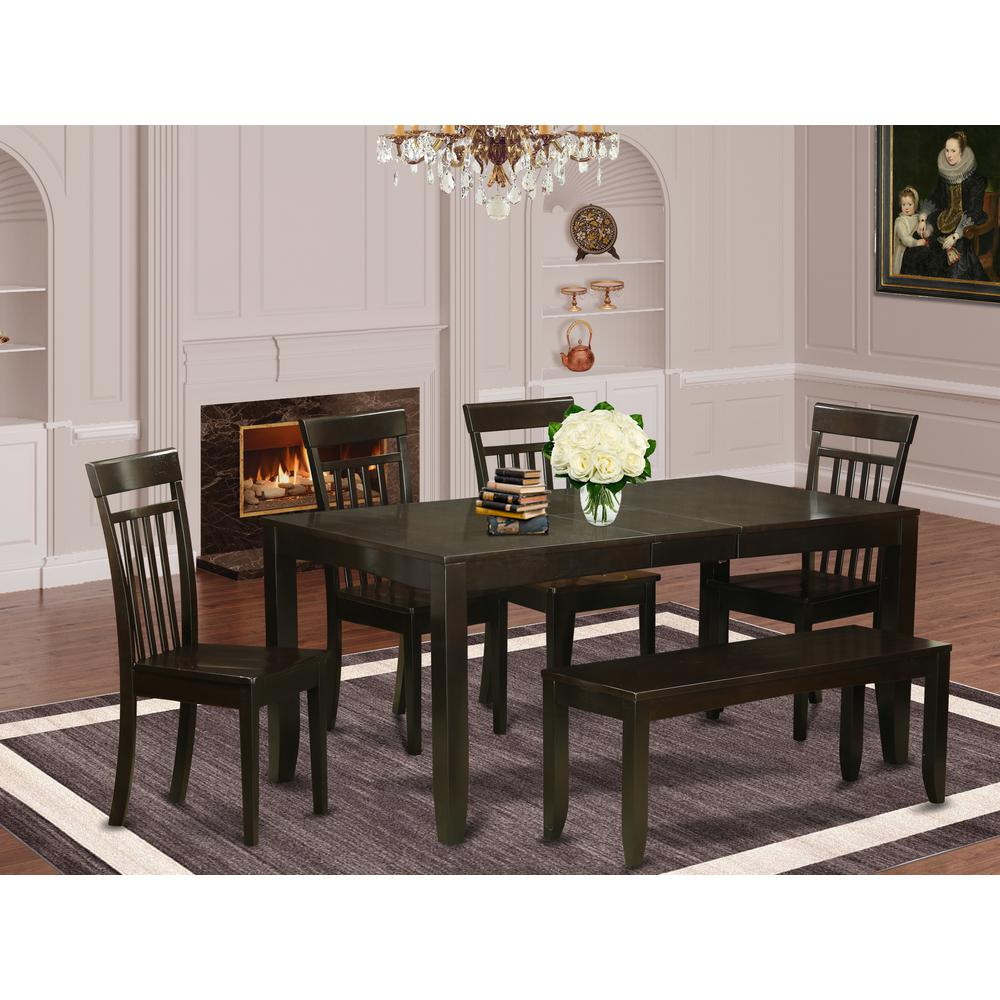 6-Pc  Dining  Table  with  bench-Dining  Table  with  Leaf  and  4  Dining  Chairs  plus  Bench. Picture 1