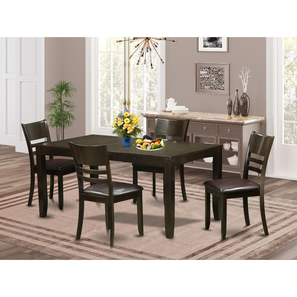 Wooden Importers Lynfield 6 Piece Dining Set: 5 Pc Dining Set-Table Table With Leaf And 4 Dining Chairs
