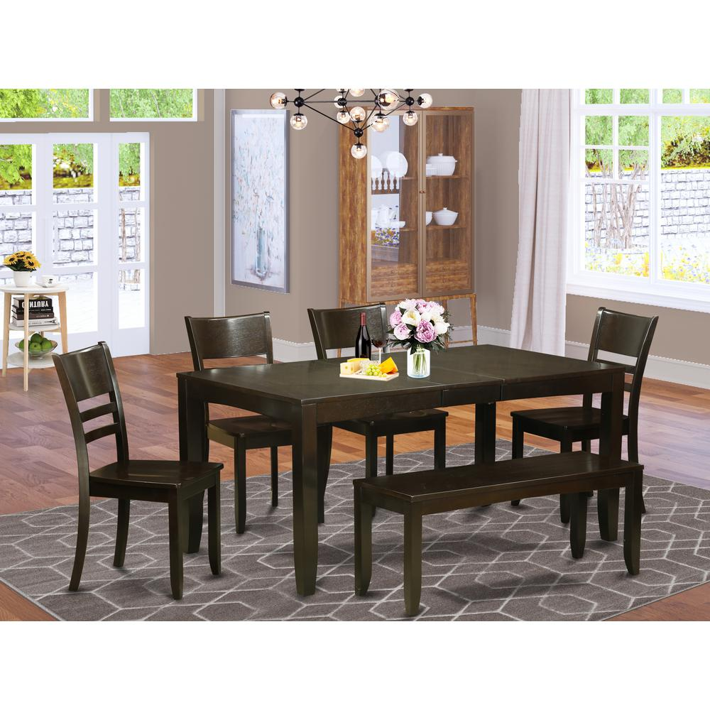 6  PC  Dining  Table  with  bench-Table  with  Leaf  and  4  Kitchen  Dining  Chairs  Plus  Bench. Picture 1