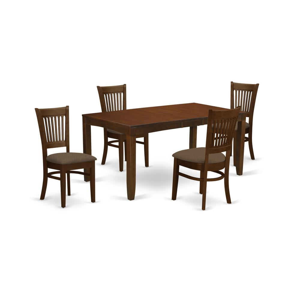 LYVA5-ESP-C 5 Pc set with a 12in Leaf and 4 Cushiad Kitchen Chairs in Espresso .. Picture 1