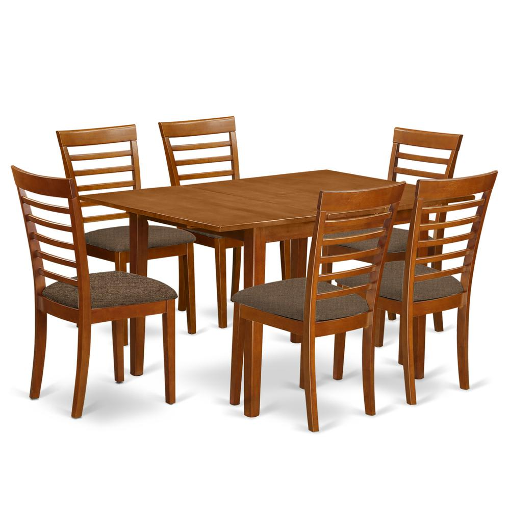 MILA7-SBR-C 7 Pc Kitchen nook Dining set-breakfast nook and 6 Dining Chairs in Brown. Picture 1