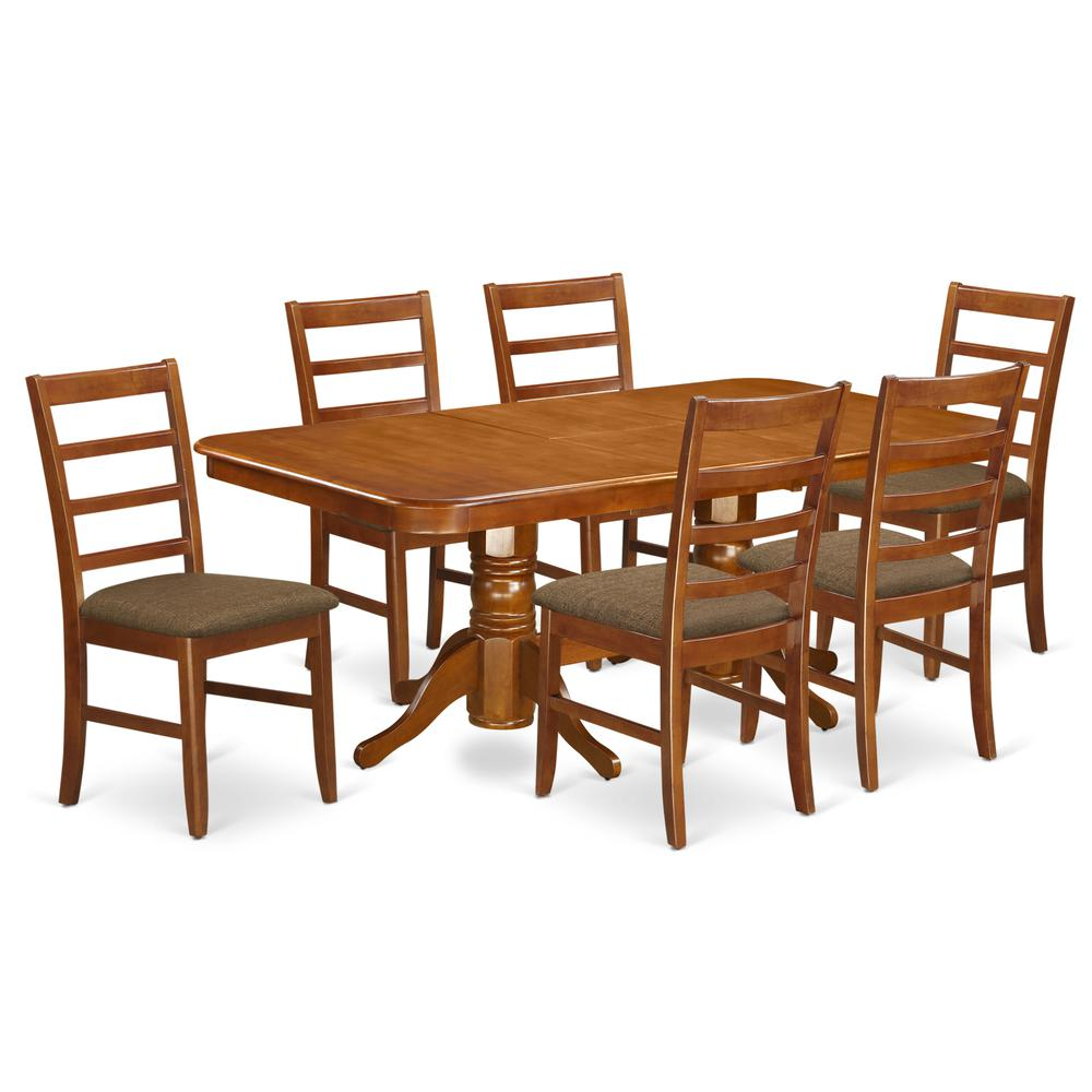 Napoleon Styled Saddle Brown Kitchen Chair: 7 PcNapoleon Dinette Table Offering Leaf And 6 Cushion